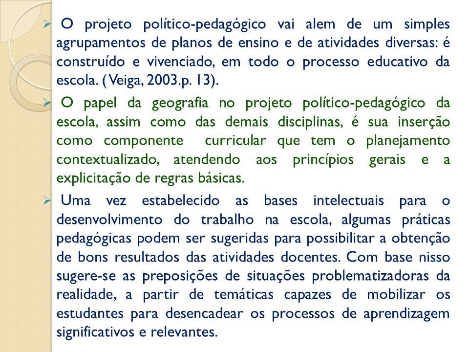 O projeto político-pedagógico vai alem de um simples agrupamentos de planos de ensino e de atividades diversas: é construído e vivenciado, em todo o processo educativo da escola. ( Veiga, 2003.p. 13).