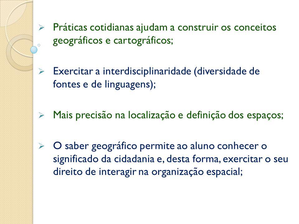 Práticas cotidianas ajudam a construir os conceitos geográficos e cartográficos;