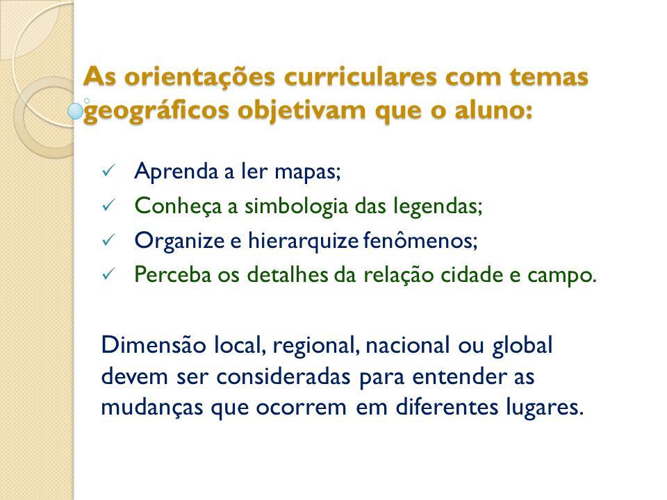 As orientações curriculares com temas geográficos objetivam que o aluno: