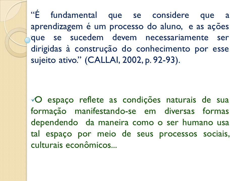 É fundamental que se considere que a aprendizagem é um processo do aluno, e as ações que se sucedem devem necessariamente ser dirigidas à construção do conhecimento por esse sujeito ativo. (CALLAI, 2002, p. 92-93).