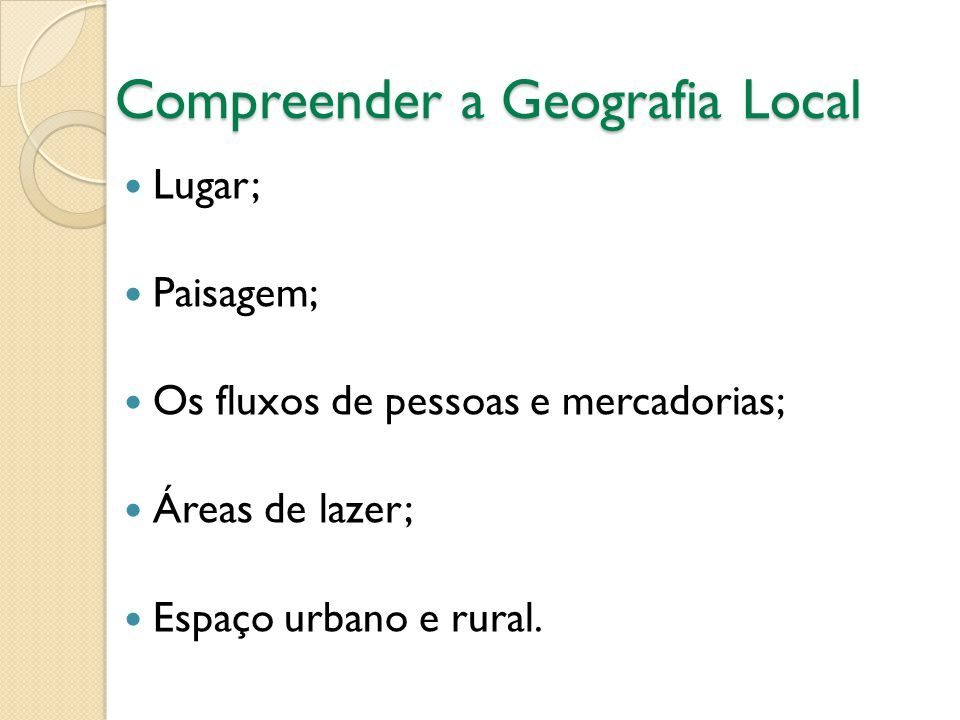Compreender a Geografia Local