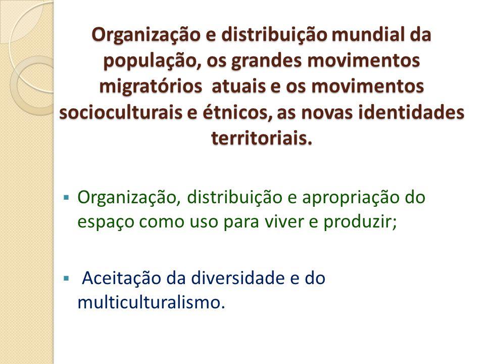 Organização e distribuição mundial da população, os grandes movimentos migratórios atuais e os movimentos socioculturais e étnicos, as novas identidades territoriais.