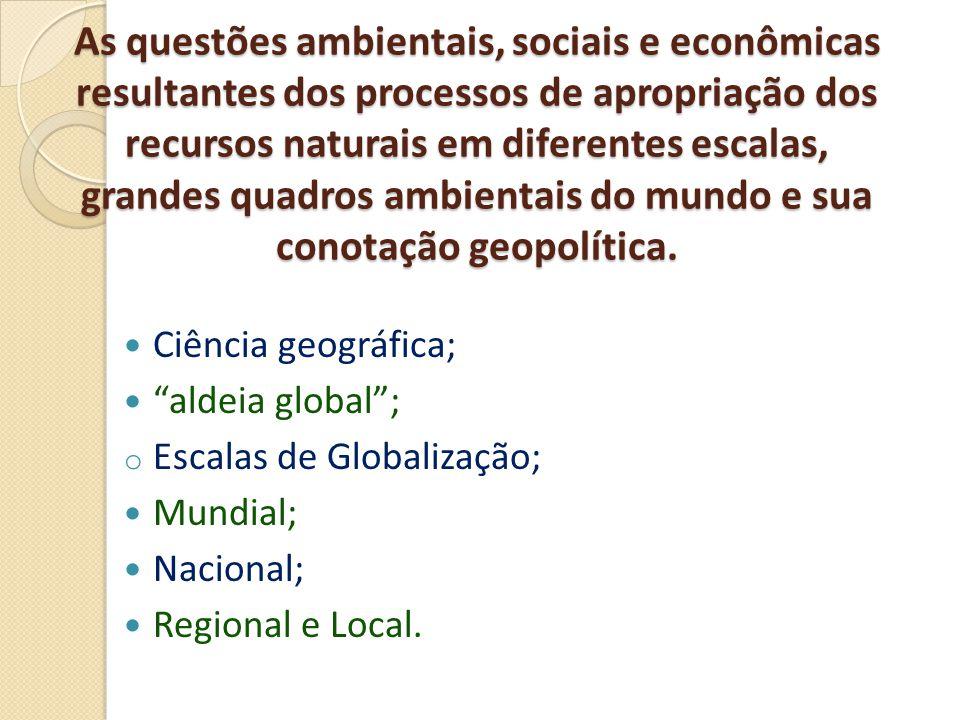 As questões ambientais, sociais e econômicas resultantes dos processos de apropriação dos recursos naturais em diferentes escalas, grandes quadros ambientais do mundo e sua conotação geopolítica.