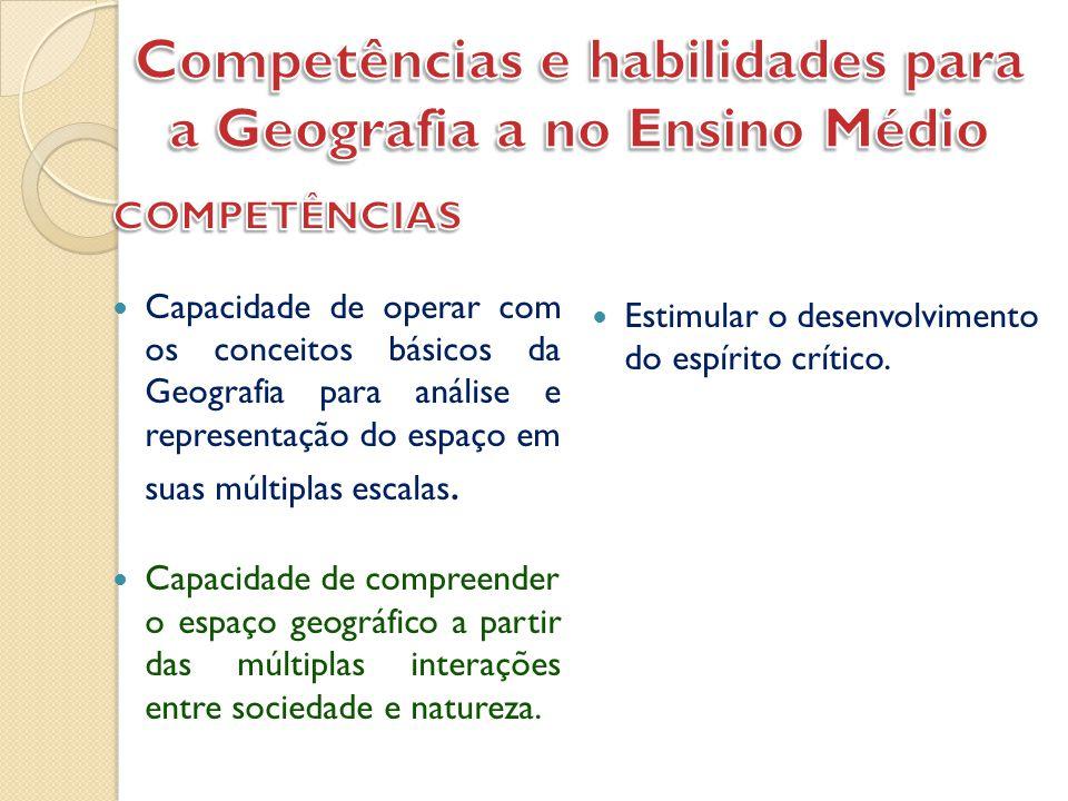 Competências e habilidades para a Geografia a no Ensino Médio