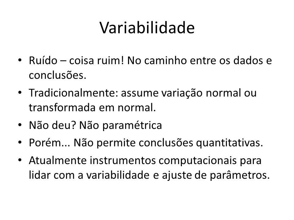 Variabilidade Ruído – coisa ruim! No caminho entre os dados e conclusões. Tradicionalmente: assume variação normal ou transformada em normal.