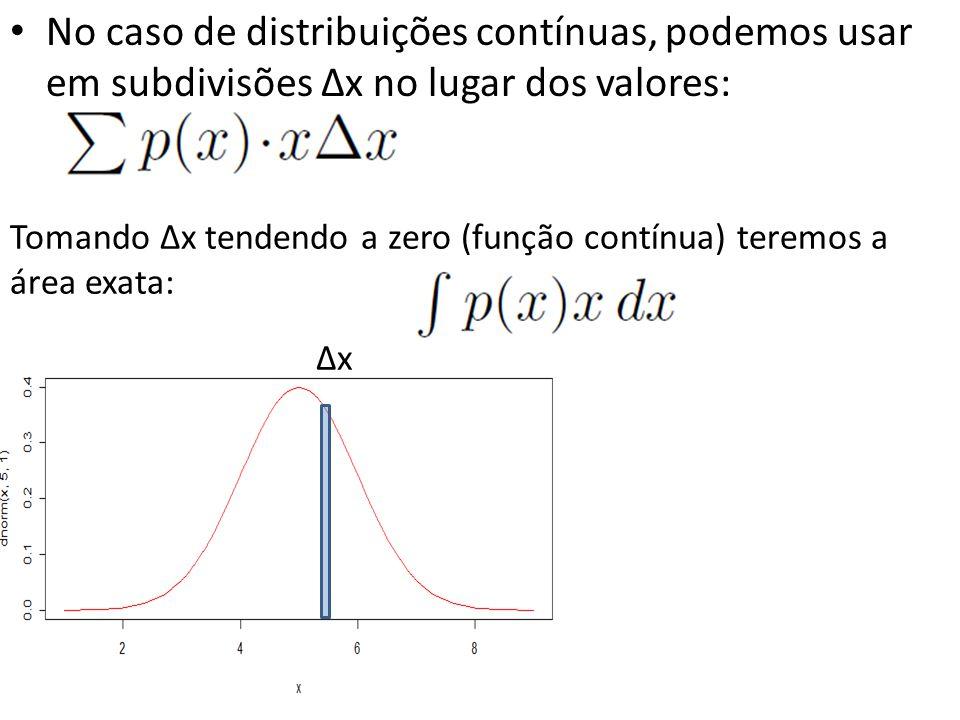 No caso de distribuições contínuas, podemos usar em subdivisões ∆x no lugar dos valores: