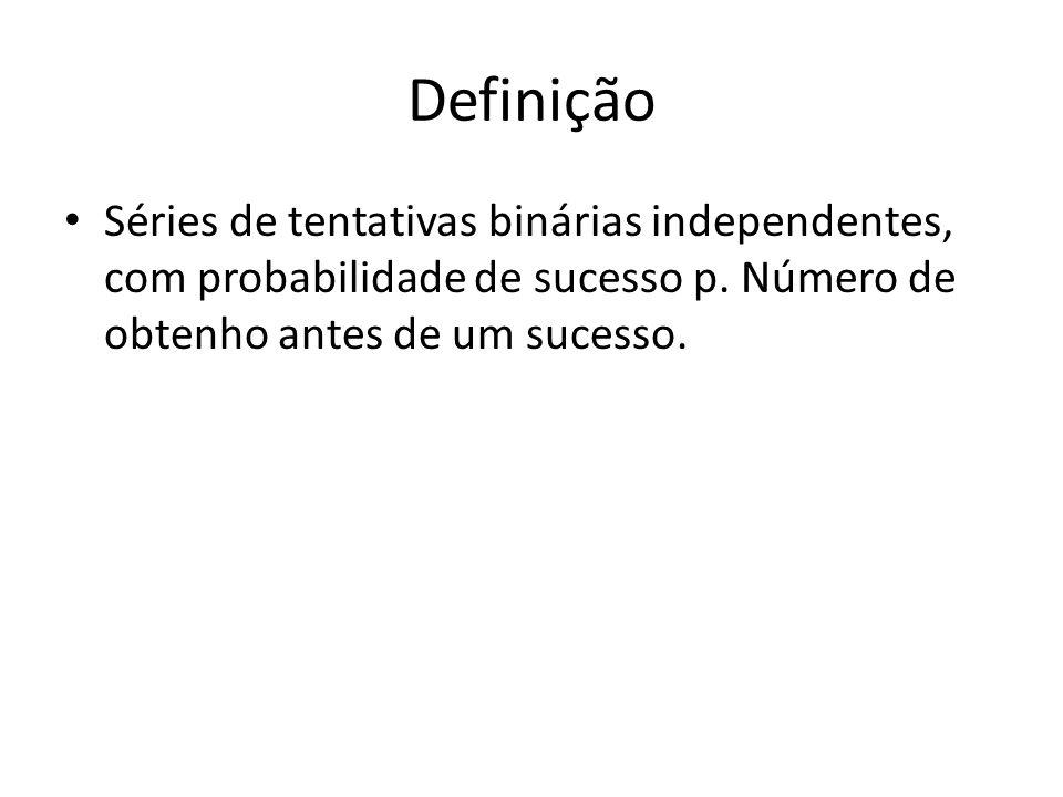 Definição Séries de tentativas binárias independentes, com probabilidade de sucesso p.
