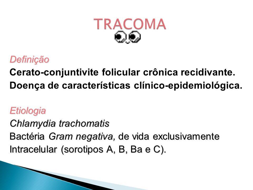 TRACOMA Cerato-conjuntivite folicular crônica recidivante.