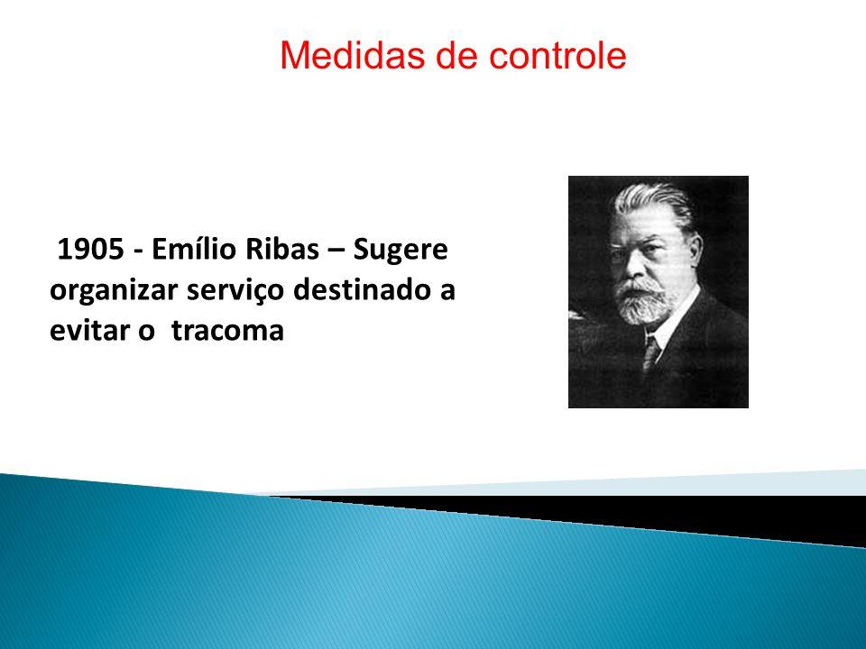 Medidas de controle 1905 - Emílio Ribas – Sugere organizar serviço destinado a evitar o tracoma.