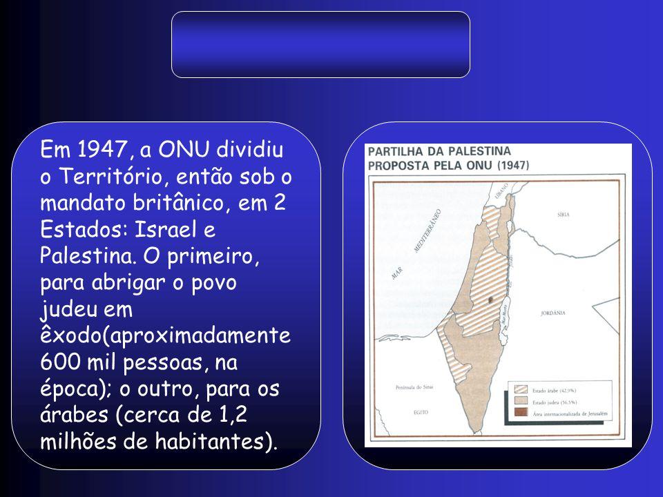 Em 1947, a ONU dividiu o Território, então sob o mandato britânico, em 2 Estados: Israel e Palestina.