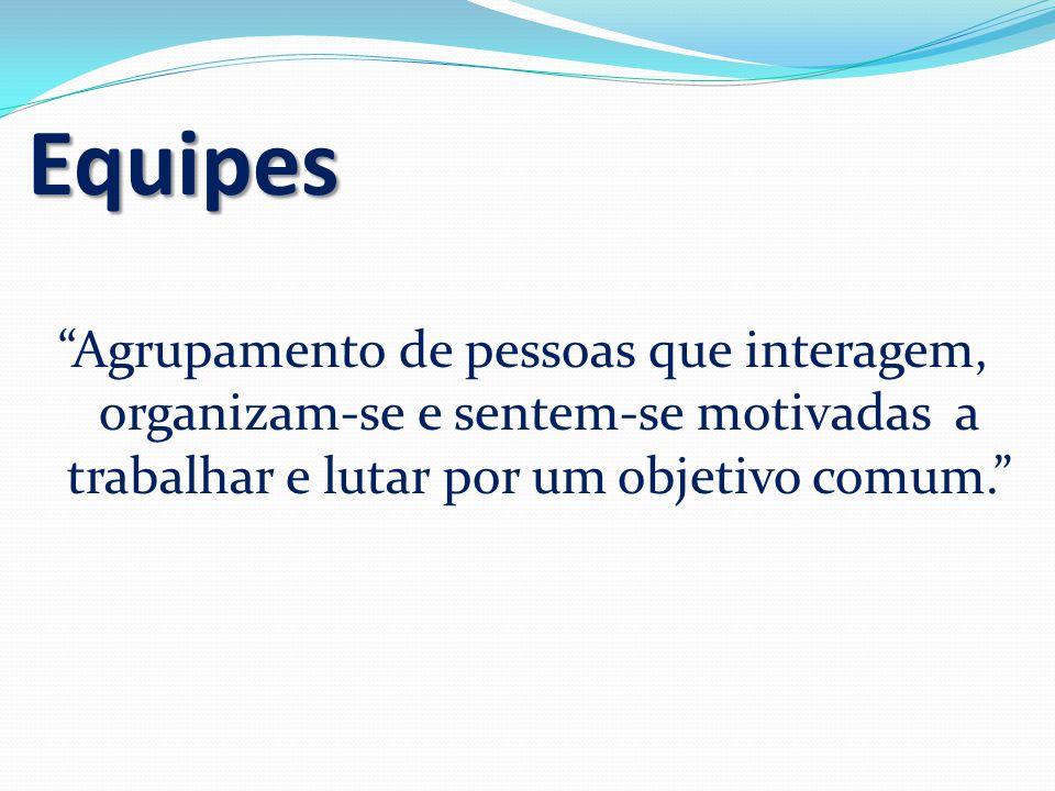 Equipes Agrupamento de pessoas que interagem, organizam-se e sentem-se motivadas a trabalhar e lutar por um objetivo comum.