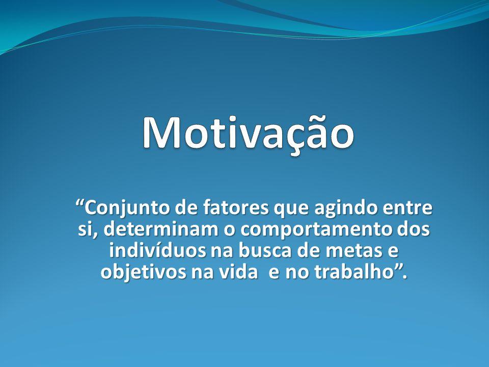 Motivação Conjunto de fatores que agindo entre si, determinam o comportamento dos indivíduos na busca de metas e objetivos na vida e no trabalho .