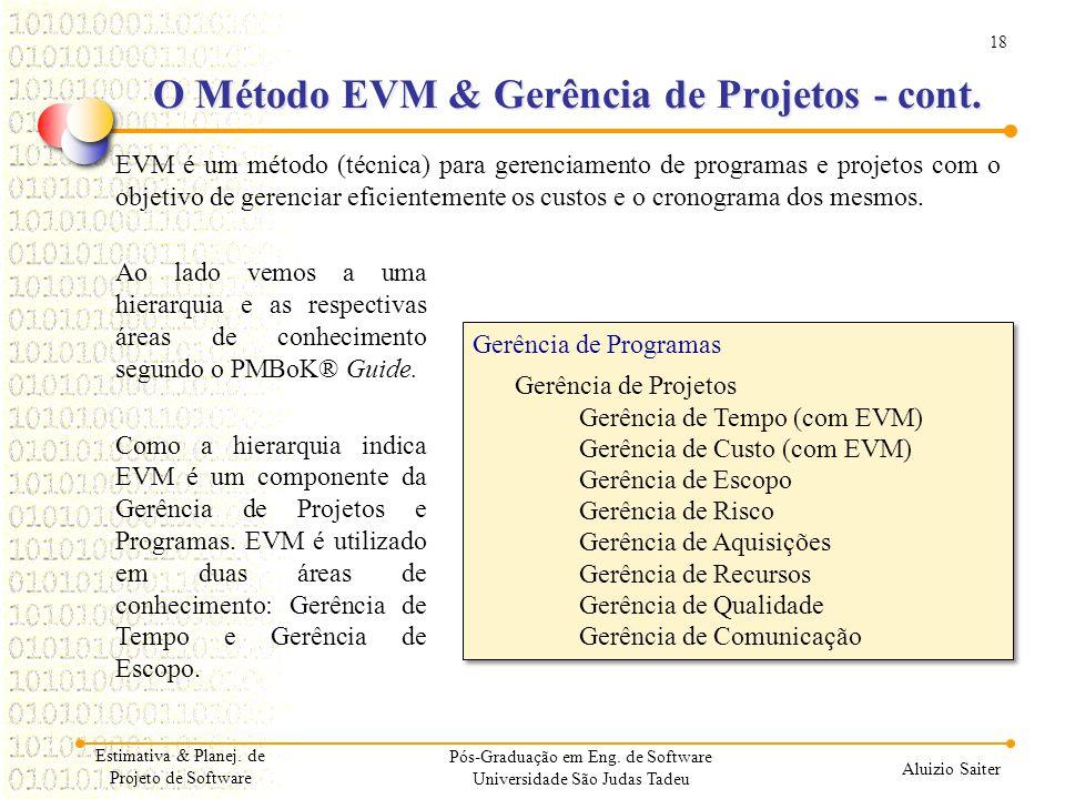 O Método EVM & Gerência de Projetos - cont.