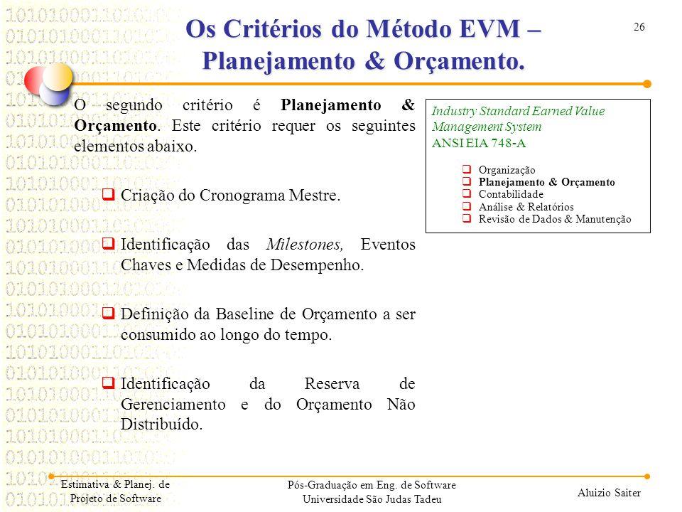 Os Critérios do Método EVM – Planejamento & Orçamento.