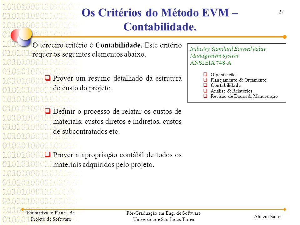 Os Critérios do Método EVM – Contabilidade.