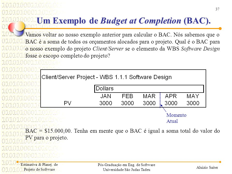 Um Exemplo de Budget at Completion (BAC).