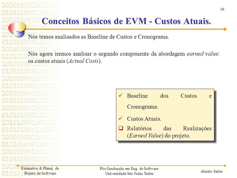 Conceitos Básicos de EVM - Custos Atuais.