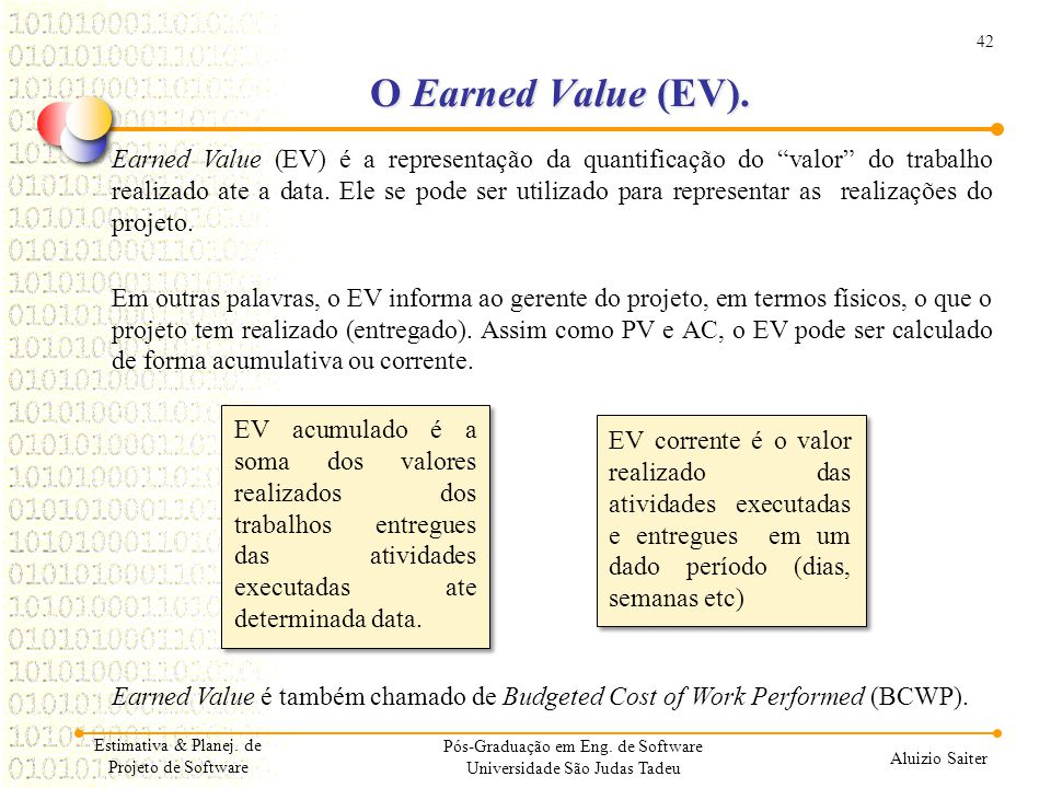 O Earned Value (EV).