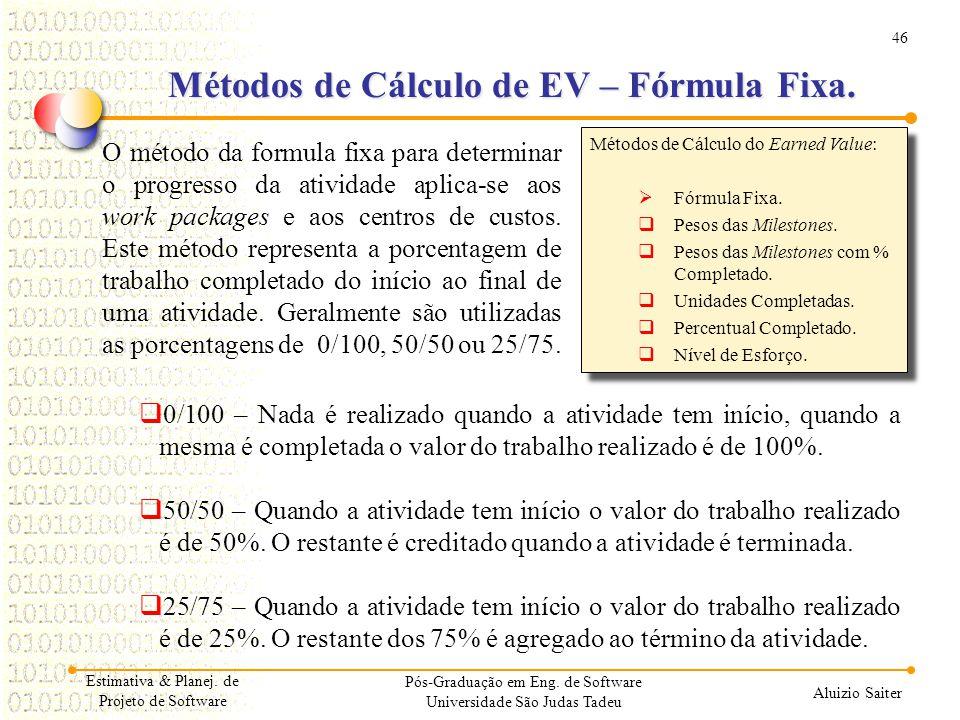 Métodos de Cálculo de EV – Fórmula Fixa.