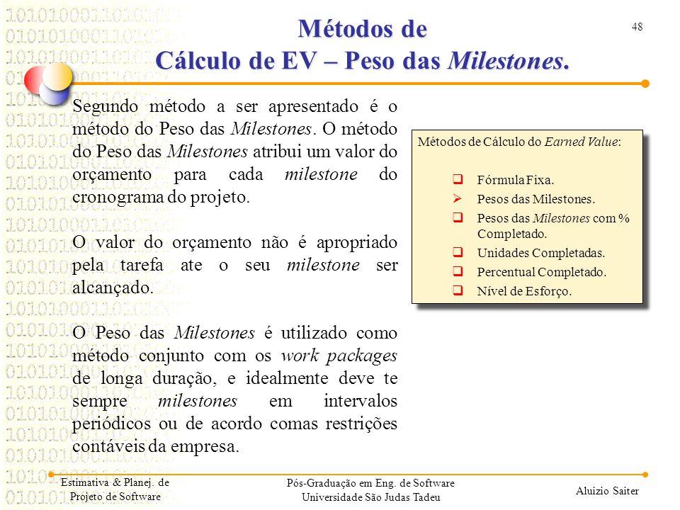Métodos de Cálculo de EV – Peso das Milestones.
