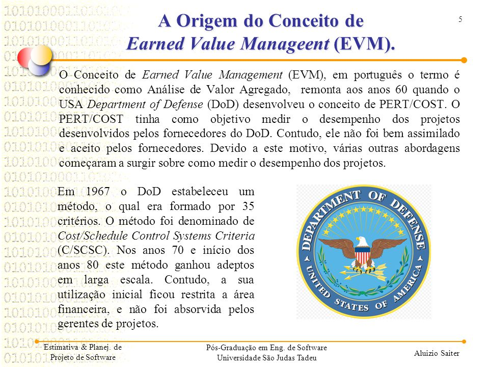A Origem do Conceito de Earned Value Manageent (EVM).