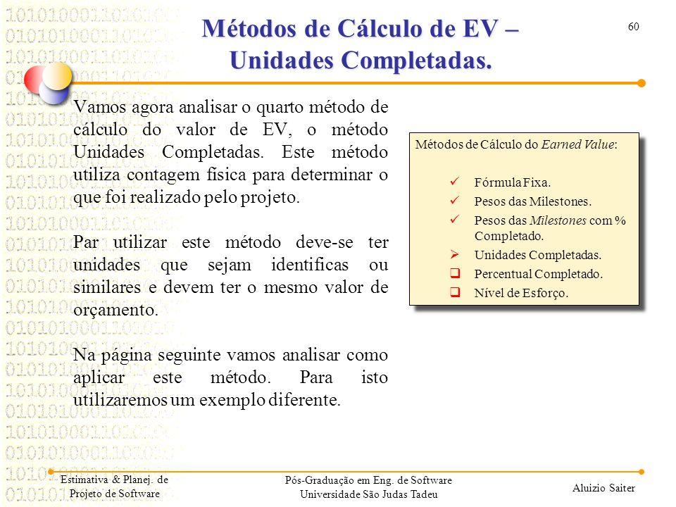 Métodos de Cálculo de EV – Unidades Completadas.