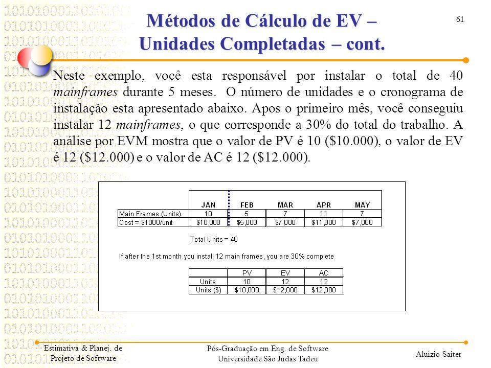 Métodos de Cálculo de EV – Unidades Completadas – cont.
