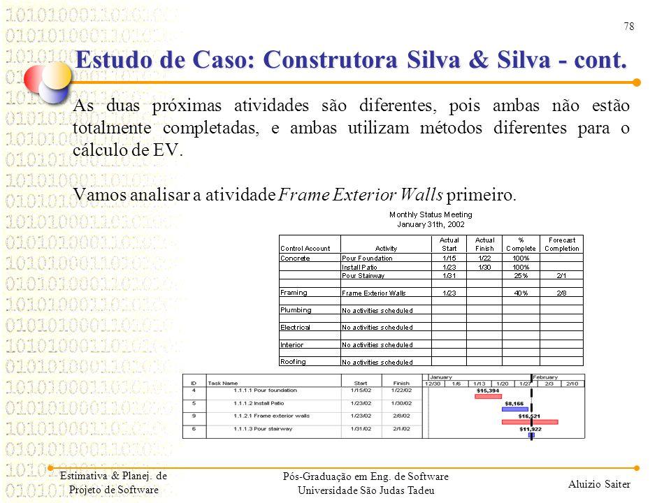 Estudo de Caso: Construtora Silva & Silva - cont.