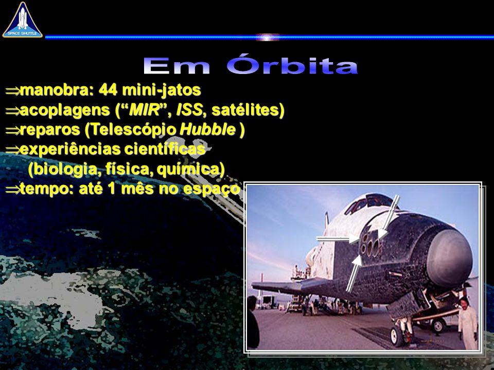 Em Órbita manobra: 44 mini-jatos acoplagens ( MIR , ISS, satélites)