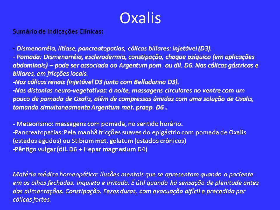 Oxalis Sumário de Indicações Clínicas: