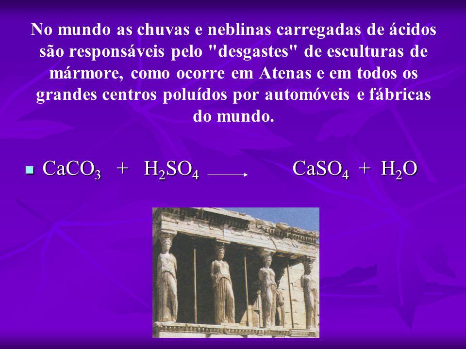 No mundo as chuvas e neblinas carregadas de ácidos são responsáveis pelo desgastes de esculturas de mármore, como ocorre em Atenas e em todos os grandes centros poluídos por automóveis e fábricas do mundo.