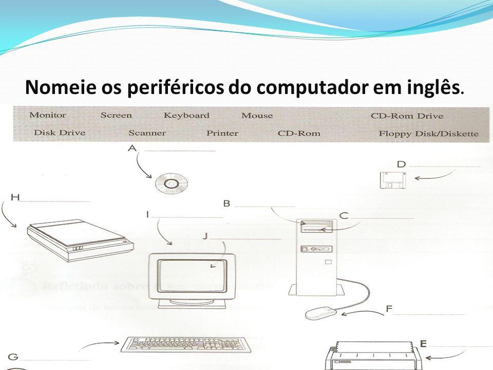 Nomeie os periféricos do computador em inglês..