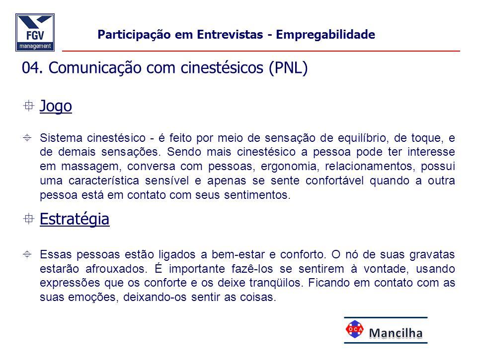 04. Comunicação com cinestésicos (PNL) Jogo