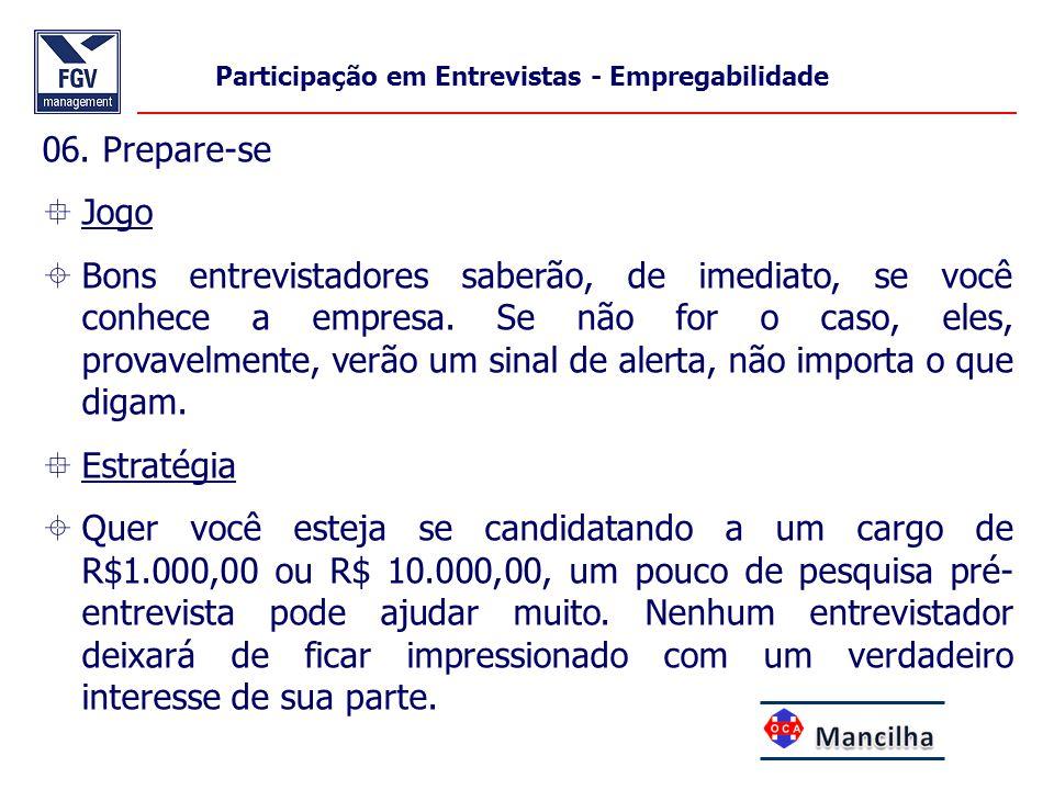 Participação em Entrevistas - Empregabilidade