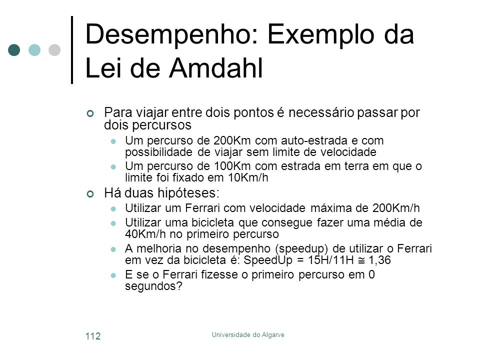 Desempenho: Exemplo da Lei de Amdahl