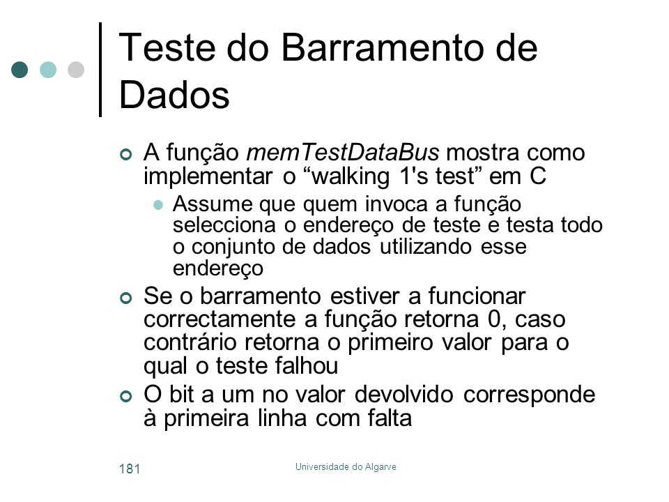 Teste do Barramento de Dados