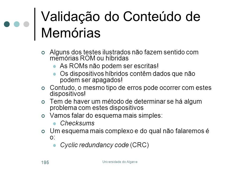 Validação do Conteúdo de Memórias