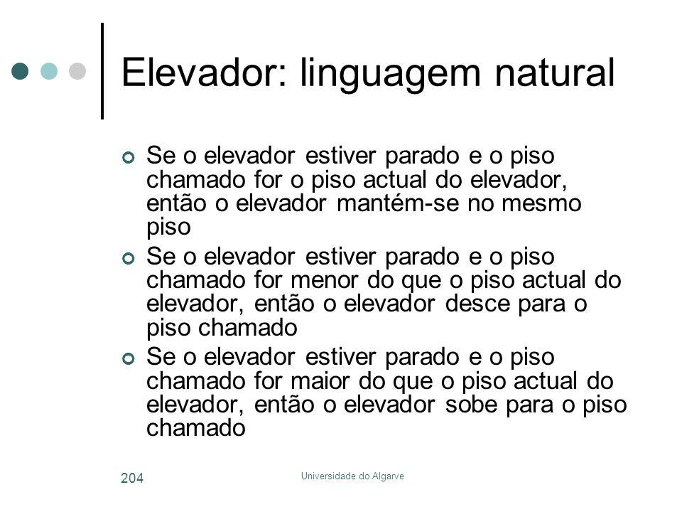 Elevador: linguagem natural
