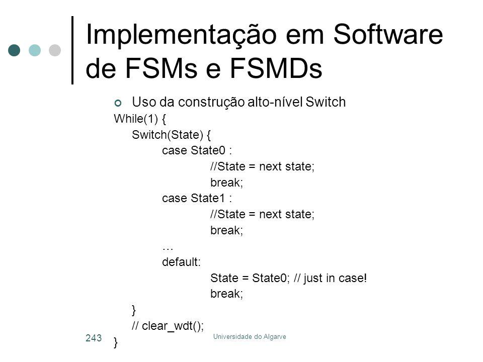 Implementação em Software de FSMs e FSMDs