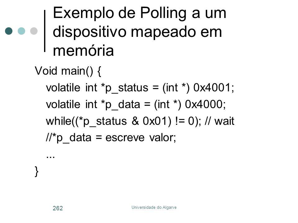 Exemplo de Polling a um dispositivo mapeado em memória