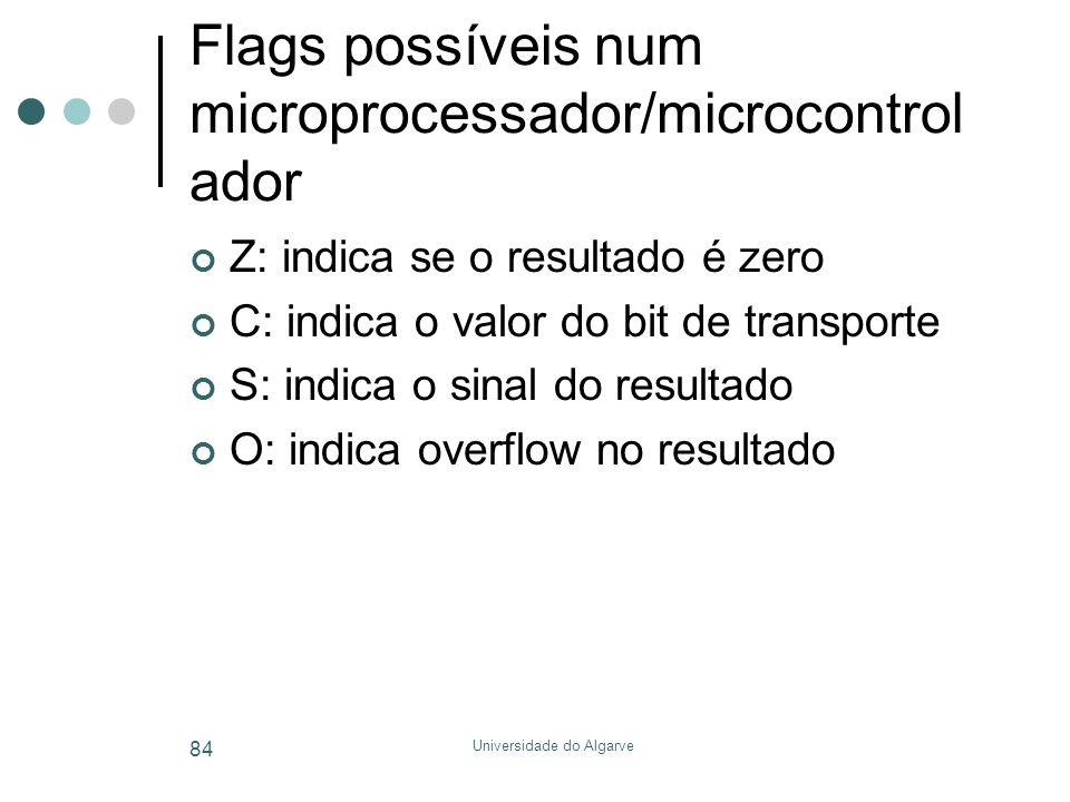 Flags possíveis num microprocessador/microcontrolador