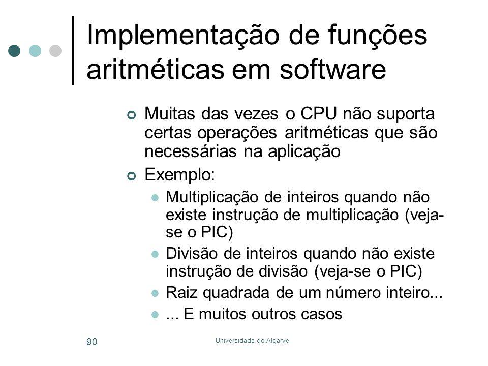 Implementação de funções aritméticas em software