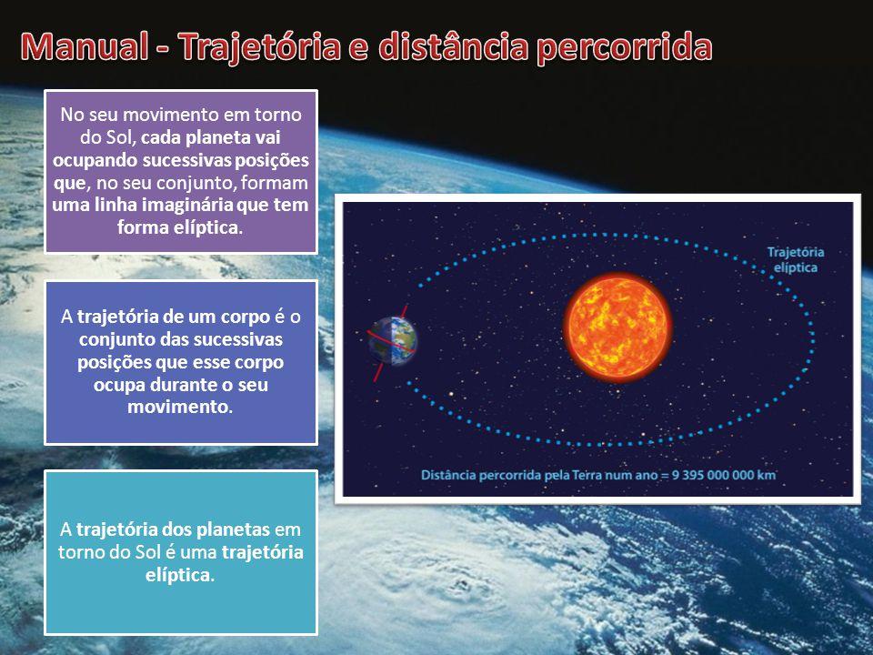 A trajetória dos planetas em torno do Sol é uma trajetória elíptica.