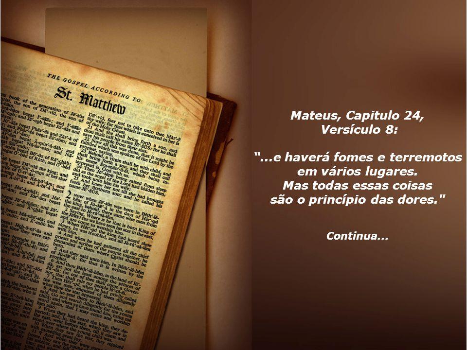 Mateus, Capitulo 24, Versículo 8: são o princípio das dores.
