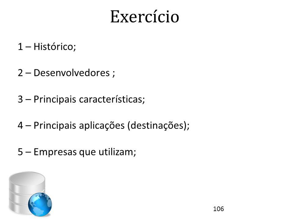 Exercício 1 – Histórico; 2 – Desenvolvedores ;