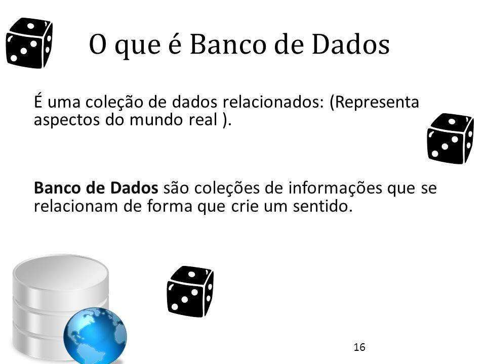 O que é Banco de Dados É uma coleção de dados relacionados: (Representa aspectos do mundo real ).