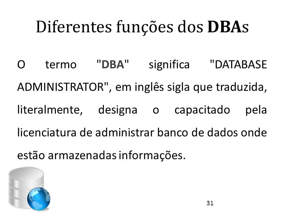 Diferentes funções dos DBAs