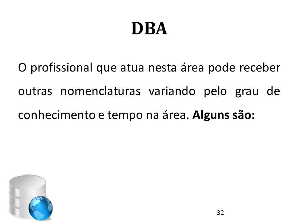 DBA O profissional que atua nesta área pode receber outras nomenclaturas variando pelo grau de conhecimento e tempo na área.