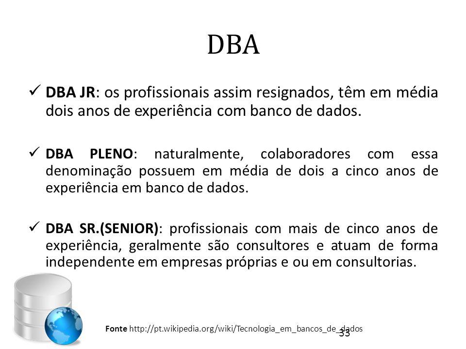 DBA DBA JR: os profissionais assim resignados, têm em média dois anos de experiência com banco de dados.