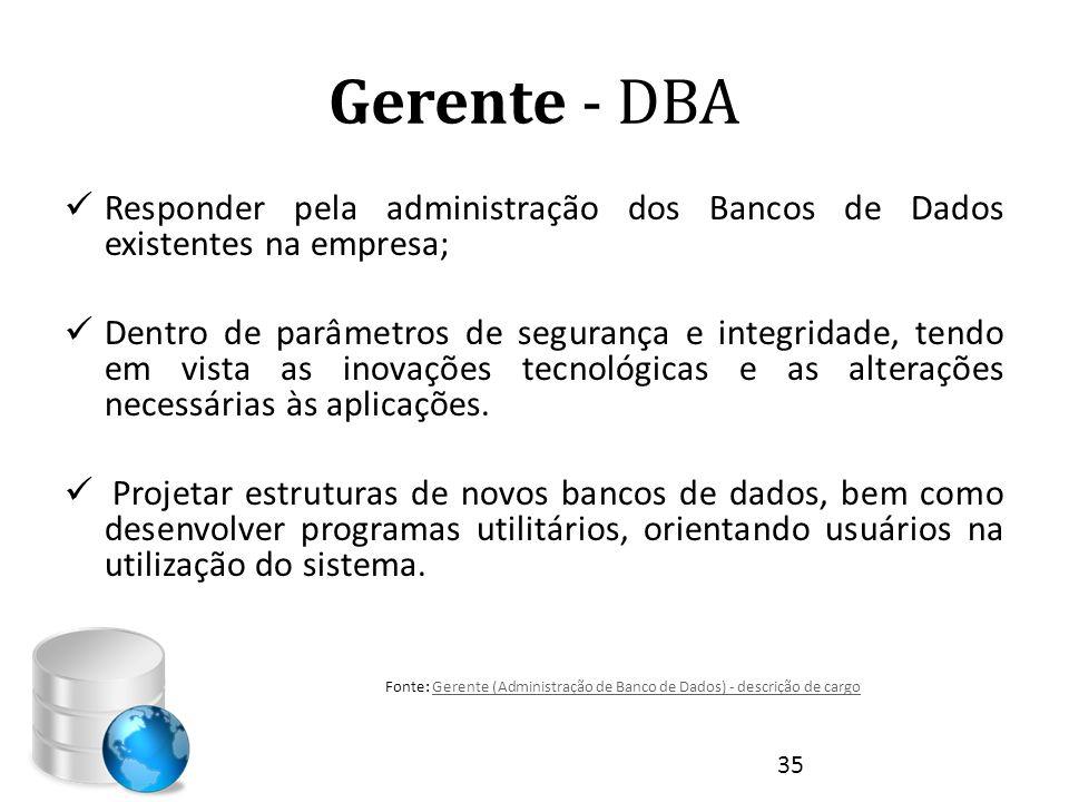 Gerente - DBA Responder pela administração dos Bancos de Dados existentes na empresa;